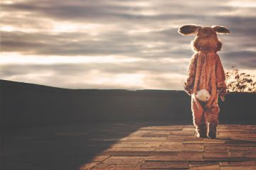 A person dressed in a baggy rabbit costume walking away into the sunset thinking about what the skin horse said to the velveteen rabbit about being loved is the thing that makes you real