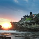 Tanah Lot temple in Bali at sunset where Alison visited on honeymoon